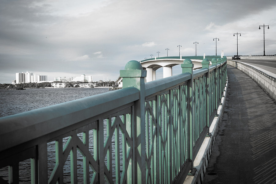 New Port Richey, FL - View of Bridge Over Ocean in Florida in Black and White with Partial Color
